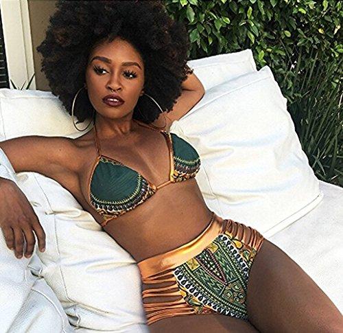 Blazar 2017 Bikini Mujer Cintura Alta Push Up Trajes de Baño de Dos Piezas Acolchado Brasileño Halter Neck para Playa, Piscina, Fiesta, Natación, S/3XL verde