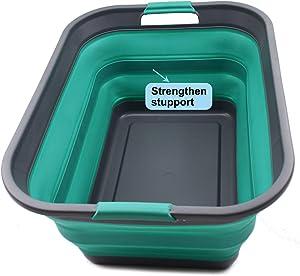 SAMMART Collapsible Plastic Laundry Basket - Foldable Pop Up Storage Container/Organizer - Portable Washing Tub - Space Saving Hamper/Basket (1, Grey/Turquoise Blue)