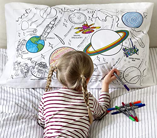 Color Your Own Pillow Case Coloring Pillowcase Doodle World Map Pillowcase