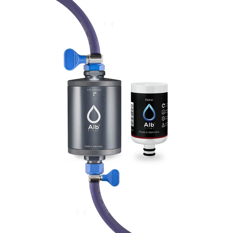 Alb Filter Travel Nano Trinkwasserfilter mit Anschluss-Set für Camping, Wohnwagen und Caravan. Qualität Made in Germany