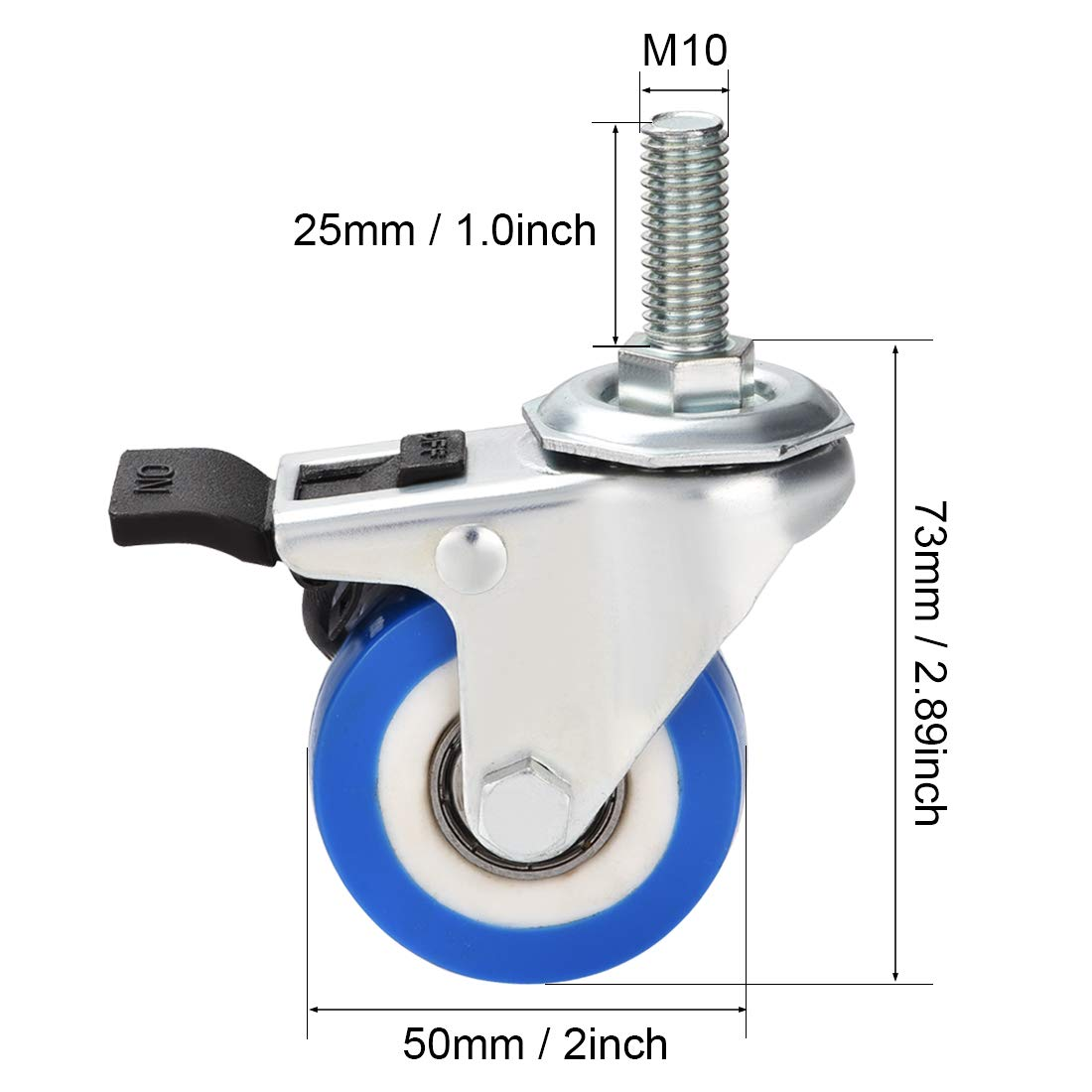 Lenkrollen R/äder PU Lenkrolle 2 Zoll M10 x 25mm Gewindezapfen mit Bremse sourcing map 4 Stk