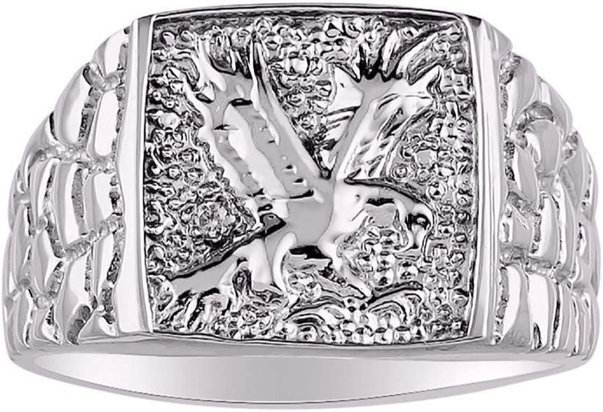 RYLOS Anillo de diseñador de águila patriótica con diamantes genuinos engarzados en oro amarillo de 14 quilates o 14 quilates