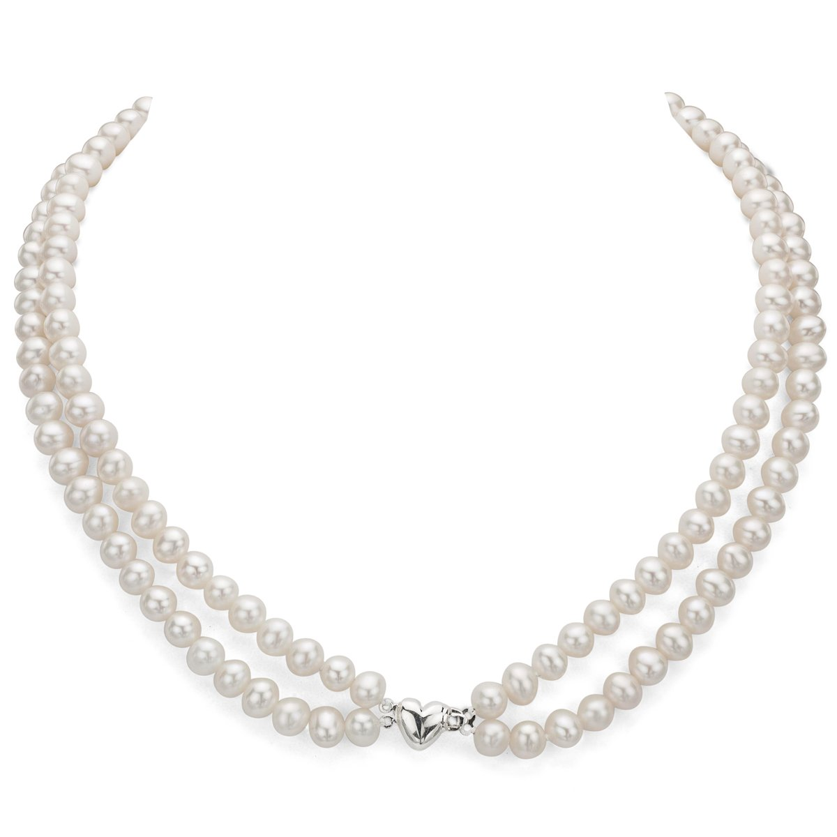 Heart Shape Sterling Silver 2-rows 6-6.5mm White Freshwater Cultured High Luster Pearl Necklace, 17'' by La Regis Jewelry (Image #3)