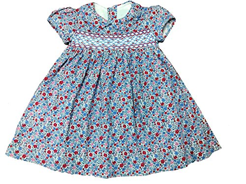 (Blue & Red Floral Babydoll Dress with Adorable Hand Smocking and Embroidering )