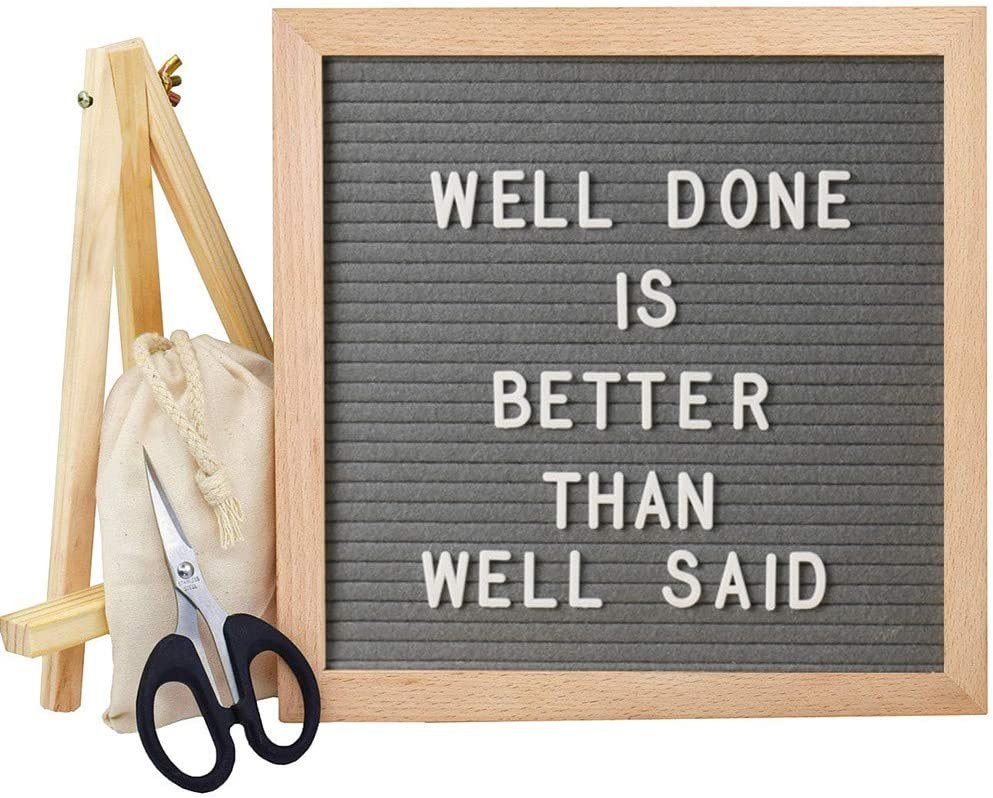 Felt Letter Board, Changeable Letter Boards Message Sign, 340 White Letters and Letterboard with Stand, Wall & Tabletop Display, Storage Pouch