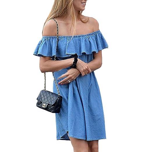 5d0babd9dbe Bling Stars Denim Dress Womens Blue Jean Off Shoulder Ruffle Short ...