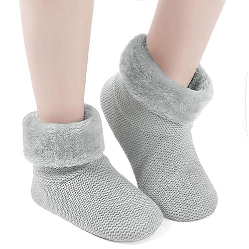 e59808d6b Dailybella Women's Soft Indoor Booties Slippers Warm Fleece Lining Non-Slip  Slipper Socks (7