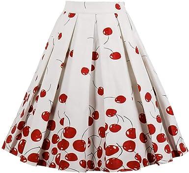 GYYWAN Falda Plisada Floral De Cintura Alta para Mujer del Verano ...