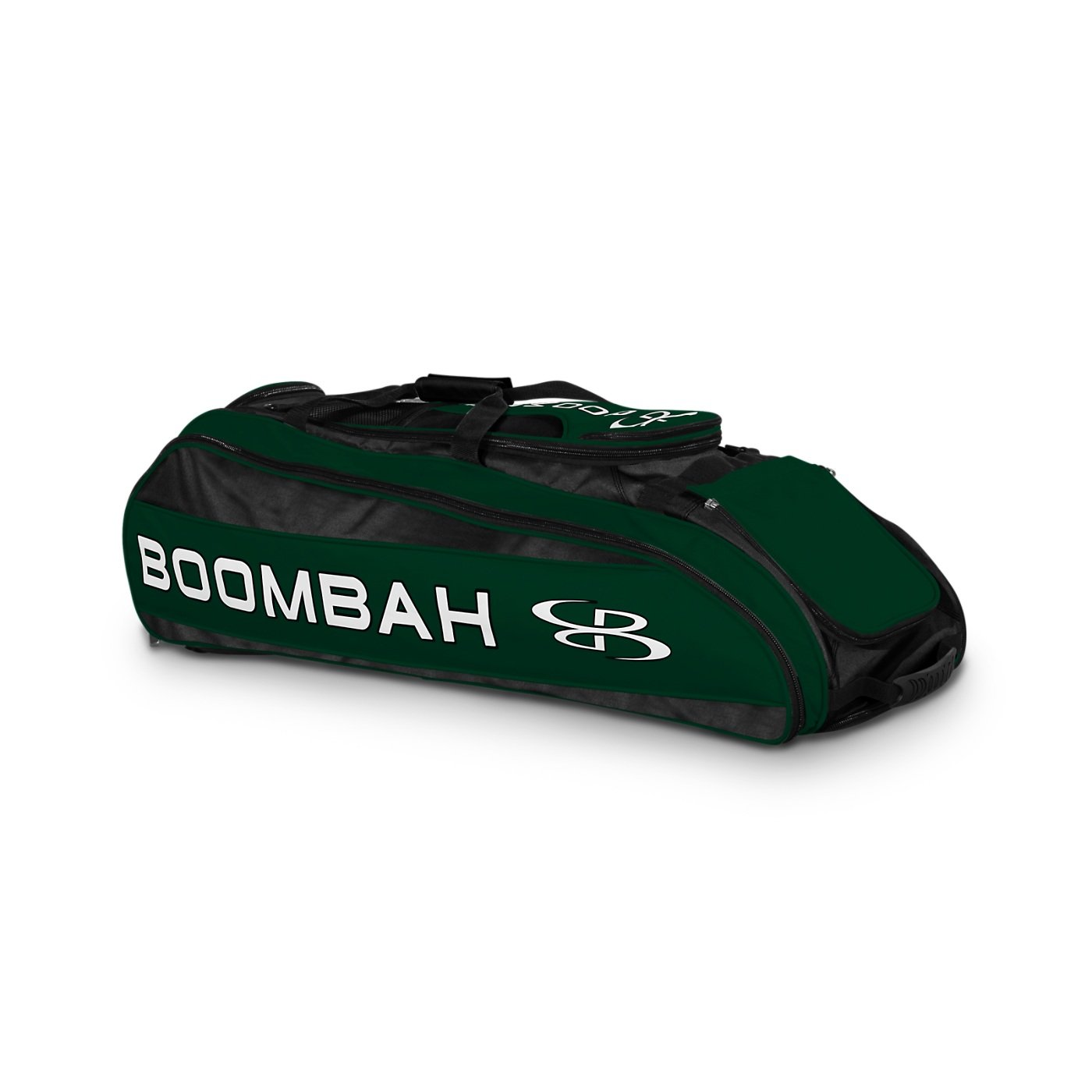 Boombah Beast Baseball/Softball Bat Bag - 40'' x 14'' x 13'' - Black/Dk Green - Holds 8 Bats, Glove & Shoe Compartments by Boombah (Image #1)