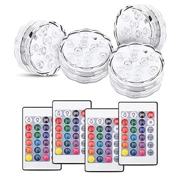 Zerodis 10 Luces LED sumergibles, RGB Impermeables con Pilas con Mando a Distancia por Infrarrojos