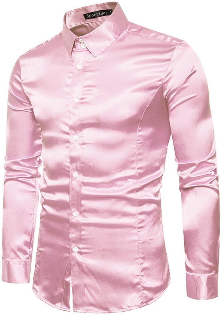 Sportides Hombre Moda Sleeved Ajustado Abotonar Vestir Manga Larga ...