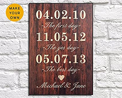 5th Anniversary Gift for Men Gift Rustic Wood Wall Art 5 Year Anniversary  Gift for Women fa33e39a8