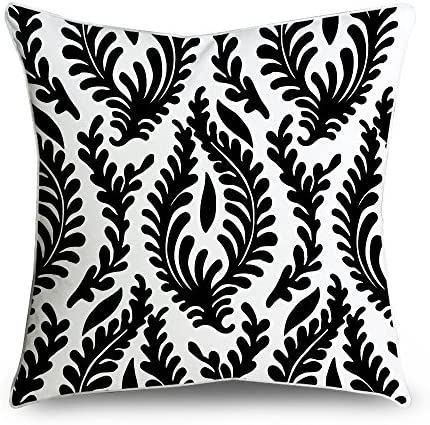 FabricMCC Black Floral Cotton Canvas Damask Decorative Throw Pillow Case Cover for Sofa or Living Room, 18 x 18