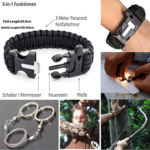 KaiLan-Emergency-Survival-Gear-Kit-12-in-1-Outdoor-Survival-Tool-with-Fire-Starter-Paracord-Bracelet-Whistle-Survival-Blanket-Wire-saw-Compass-Survival-Knife-Flashlight-Tactical-Pen-etc