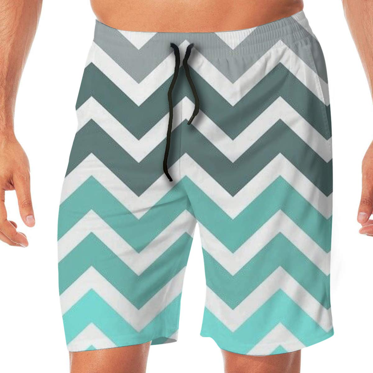 SEXTDSFD Wavy Stripes Mens Running Casual Short Beach Pants Swim Trunks Drawstring Board Shorts Swimwear