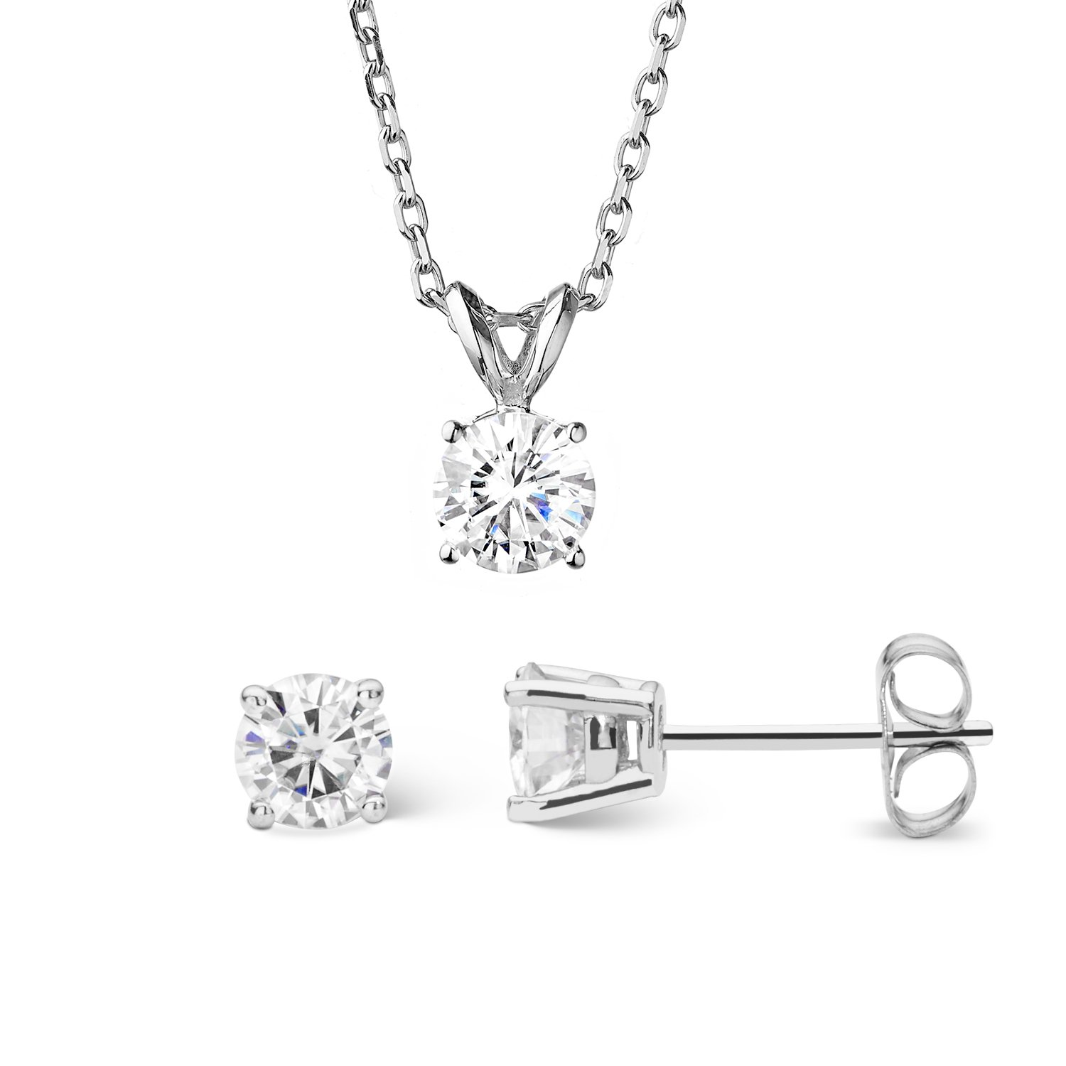 Forever Classic Round Cut 6.0mm Moissanite Earrings and Pendant Necklace Set by Charles & Colvard