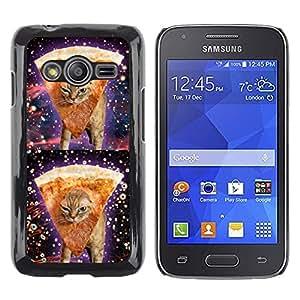 TopCaseStore / la caja del caucho duro de la cubierta de protección de la piel - Space Weed Pizza Cat 420 Funny Stoned - Samsung Galaxy Ace 4 G313 SM-G313F