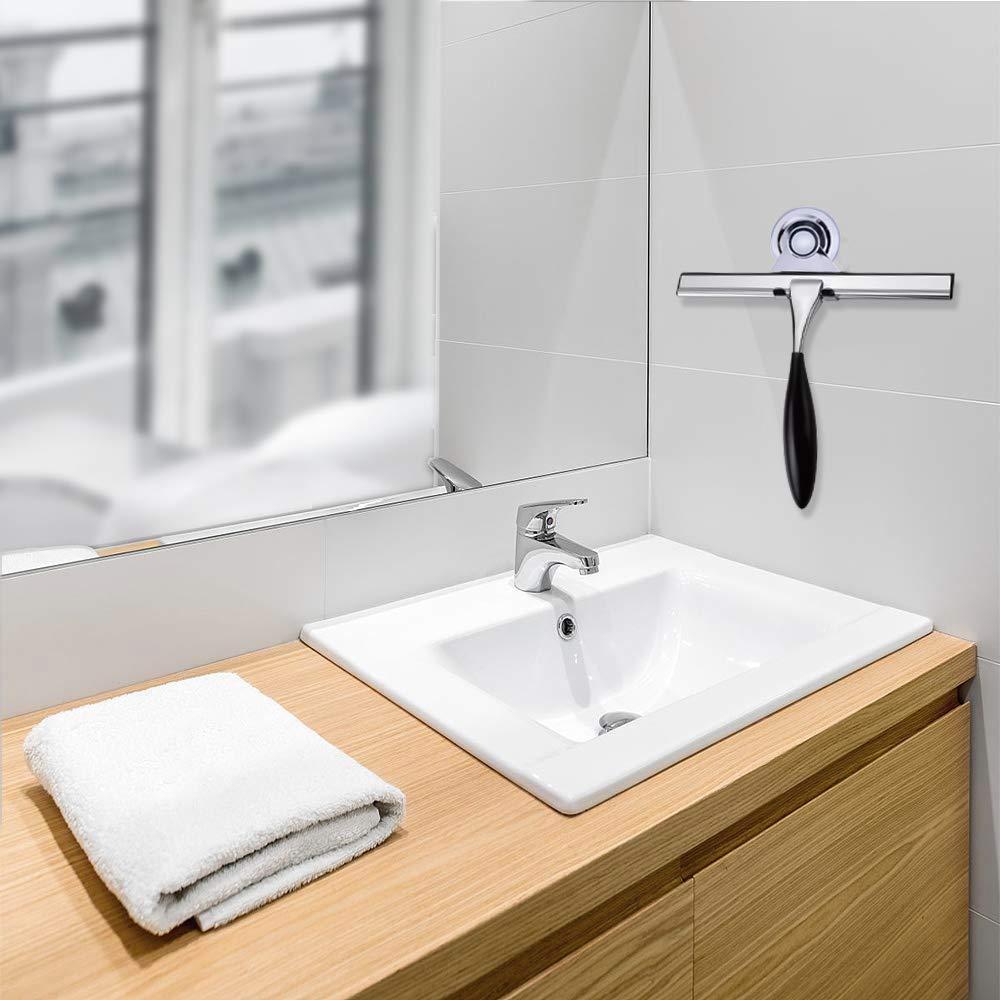 JIALEX Shower-Squeegee-Non-Slip-Handle Stainless Steel for Shower Doors Bathroom