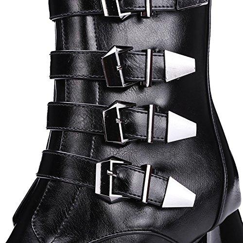 Grigio stivali donna punta Calf HSXZ Chunky fibbia Nero Casual da per Scarpe similpelle Inverno Novità Mid stivali tallone in Gray ff0qwEU