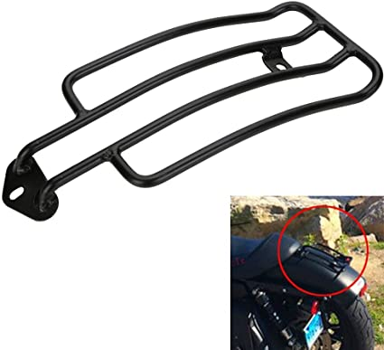 DLLL Motorcycle Raider Black Luggage Rack Support Shelf Fit For Stock Solo Seat Harley Davidson Sportster XL883 1200 X48 77-0073B Luggage Carrier Chrome