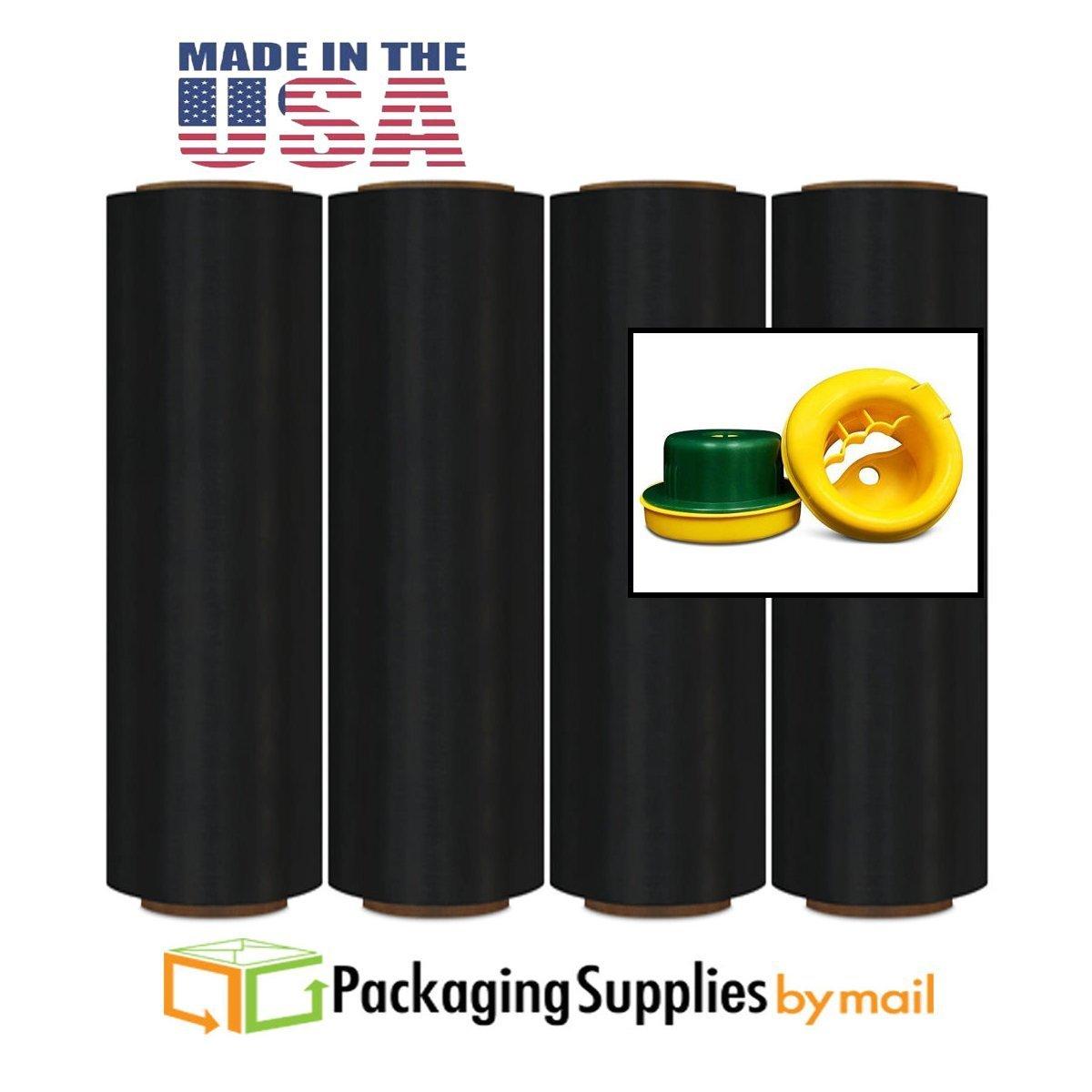 Black Color Stretch Wrap Film Advanced Pre-Stretch w/ Folded Edges 17'' x 1476' 8.5 Micron 4 Rolls with Dispenser