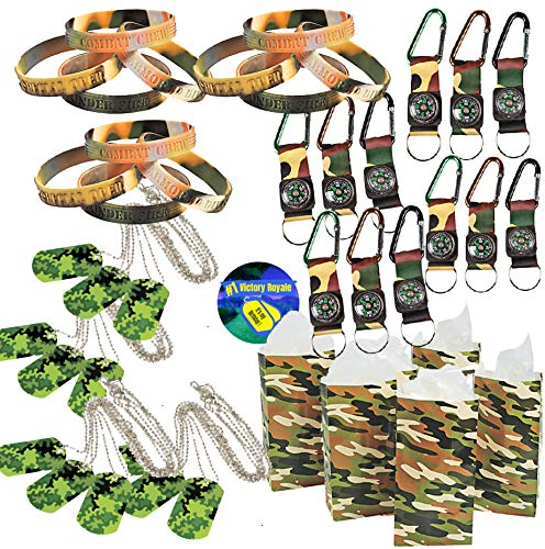 Camo Army Birthday Party Favors for 12 - Camo Dog Tags (12), Toy Compass (12), Wrist Bands (12) Camo Treat Bags (12) and Party Sticker (Total 49 Pieces) -