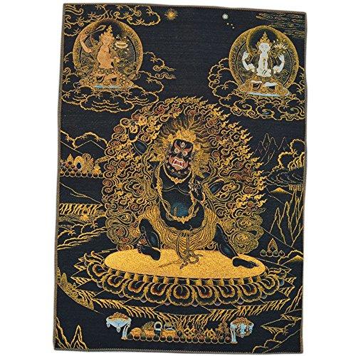 Xinshidai Tibetan Buddhist Thangka Fine Silk Embroidery Painting Tapestry 90cm 60cm (Black King Kong Buddha)