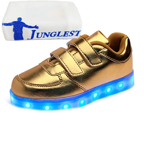 [Presente:pequeña toalla]Oro EU 33, Estudiante Botas recargable zapatillas baile manera luz parpadeante LED arriba de Niños resplandor Unisex JUNGLEST®: ...