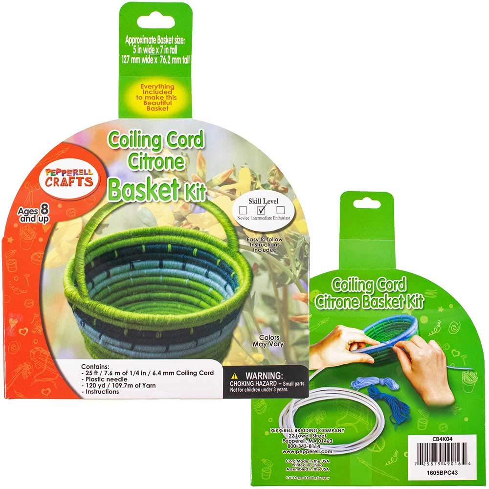 and Illustrated Instructions Included Plastic Needle 7.6 M Craft County 120 Yards Coiling Cord Basketry Kit in Length Seaside Bowl 1//4 Inch 25 Feet 109.7 M of Acrylic Yarn 6.35 MM