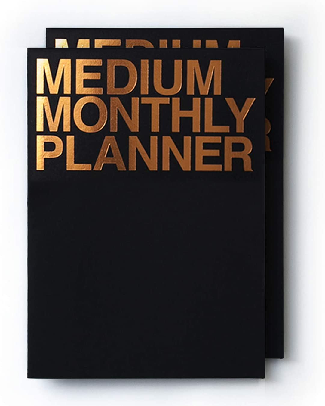 JSTORY Medium Monthly Planner Lays Flat Undated Year Round Flexible Cover 14 Sheets x 2 Black Gold