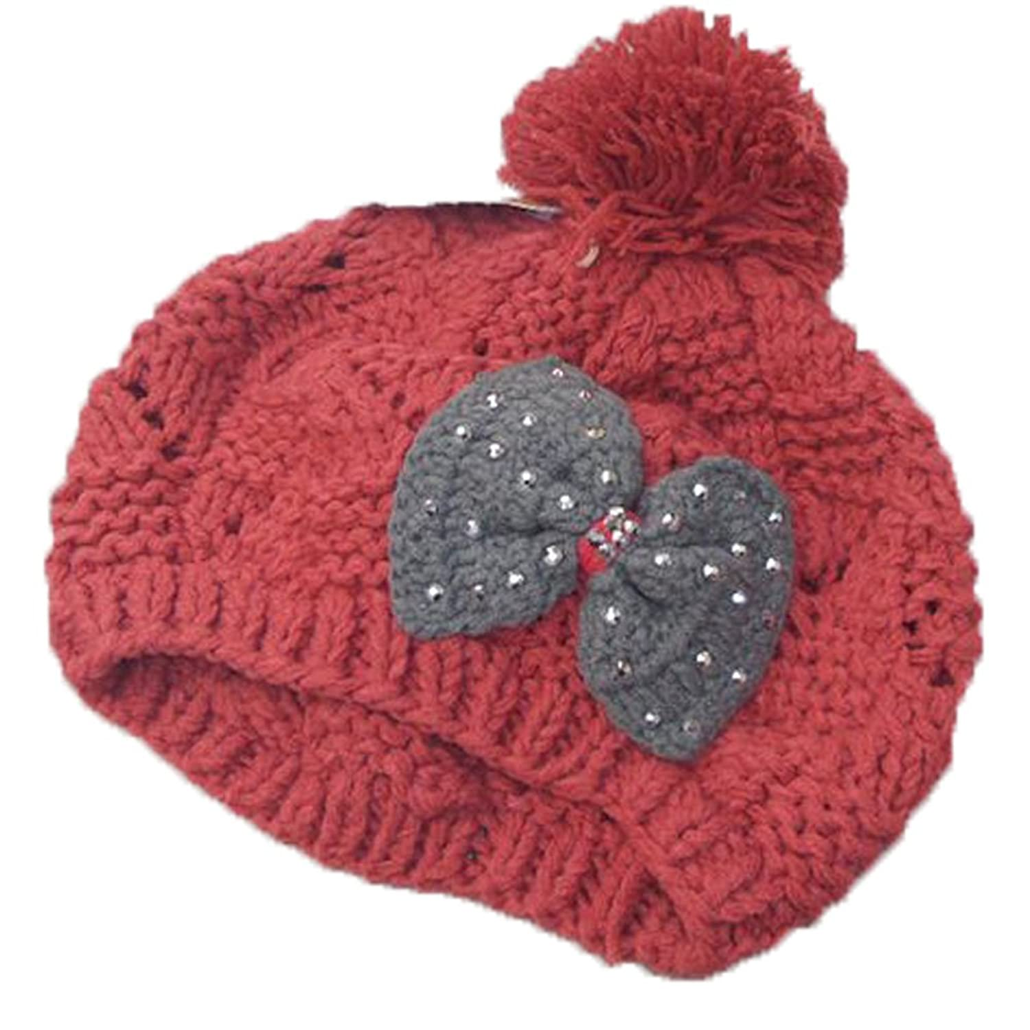 Surker Womens Bows with Diamond Knitted Warm Hat CL02016