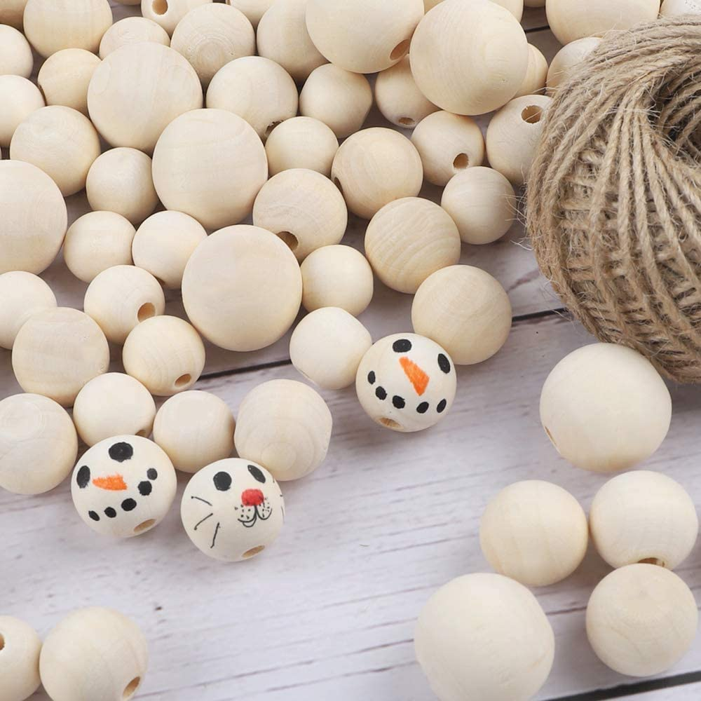 16mm,20mm,25mm KisSealed 150pcs Wood Beads Round Beads with 1 Roll 20 Meters Jute Twine for Jewelry Making Decorations and DIY Crafts