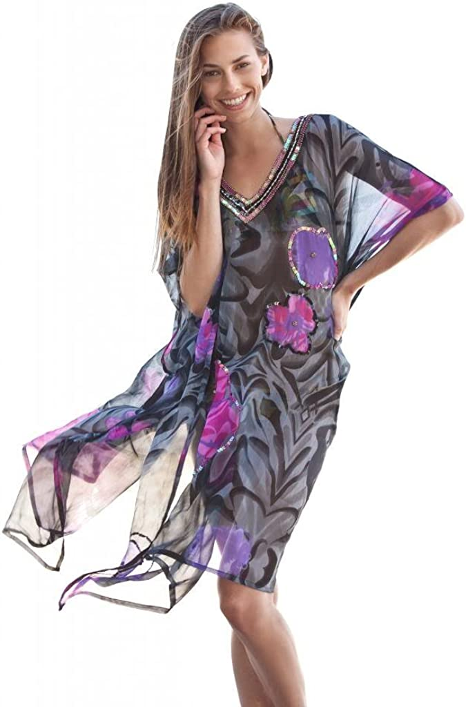 Ingear Sparkle Sheer Tunic Cover Up Abstract Flower One Size