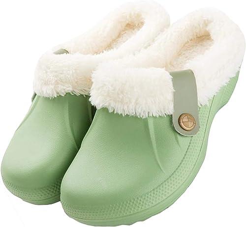 37 Damen Winter Clogs Fell Hausschuhe gefüttert Pantoffeln Winterhausschuhe Gr