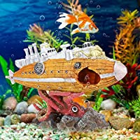 Rosvola Aquarium Resin Wreck Helicopter Vivid Underwater Landscaping Decoration Ornaments for Fish Tank