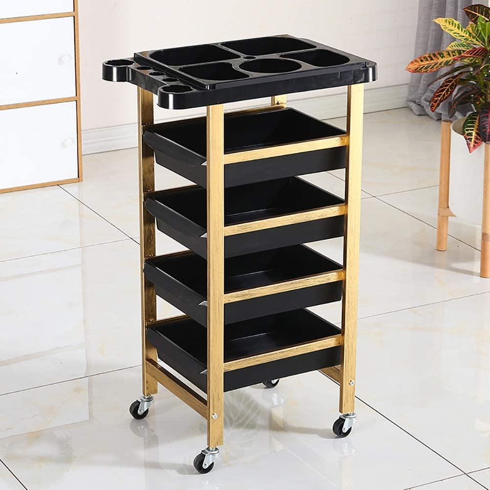 SPA Utility Rolling Trolley with Appliance Holder Modern Cart Tool Beauty Salon Cart with 4 Drawer Hairdressing Tool Cart with Wheel 20 kg Capacity