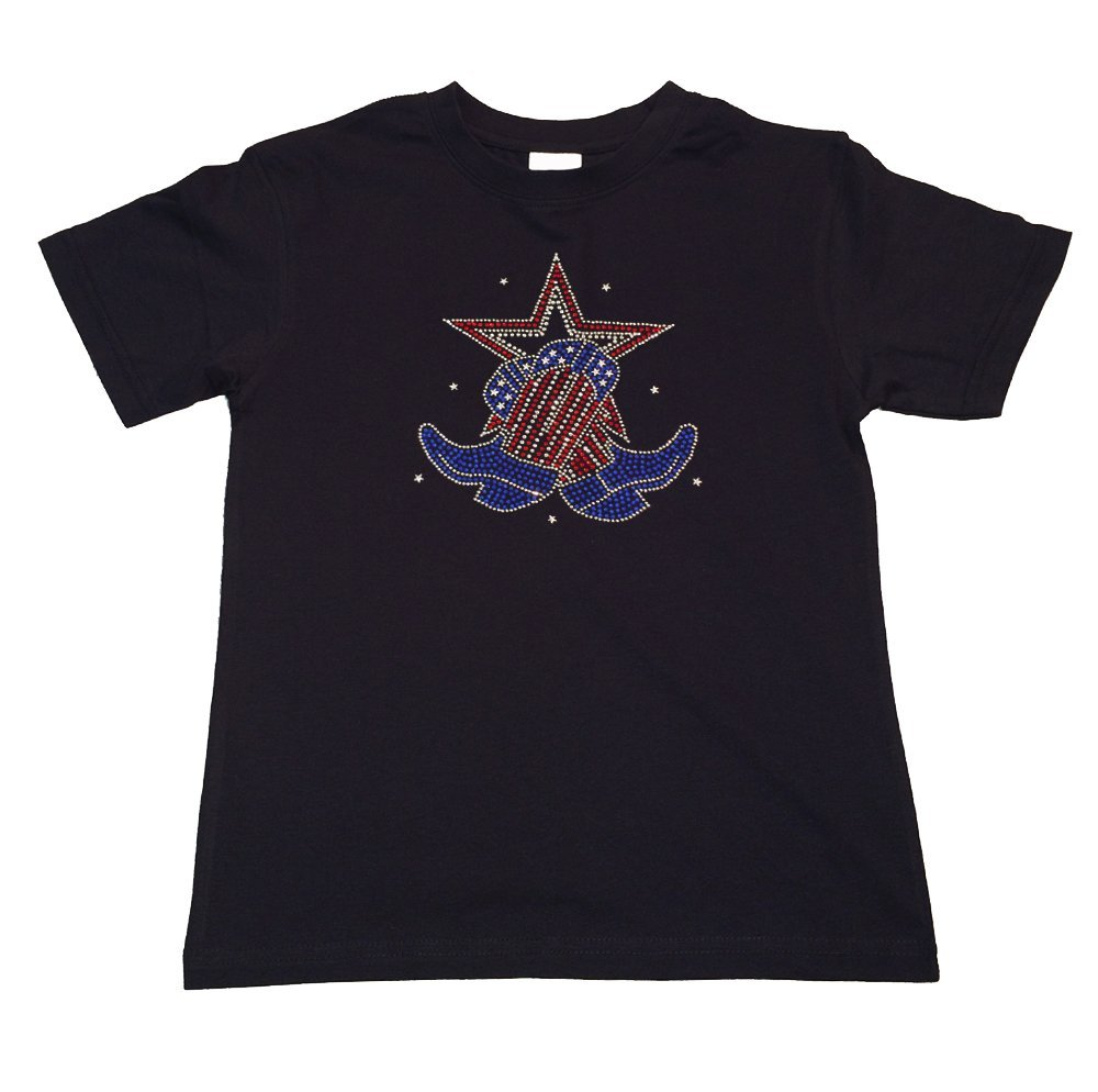 Girl's Fashion T-shirt with Boots and Star 4th of July in Rhinestones (9-11)