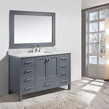 Design Element Dec082d G London 54 Single Sink Vanity Set In Gray