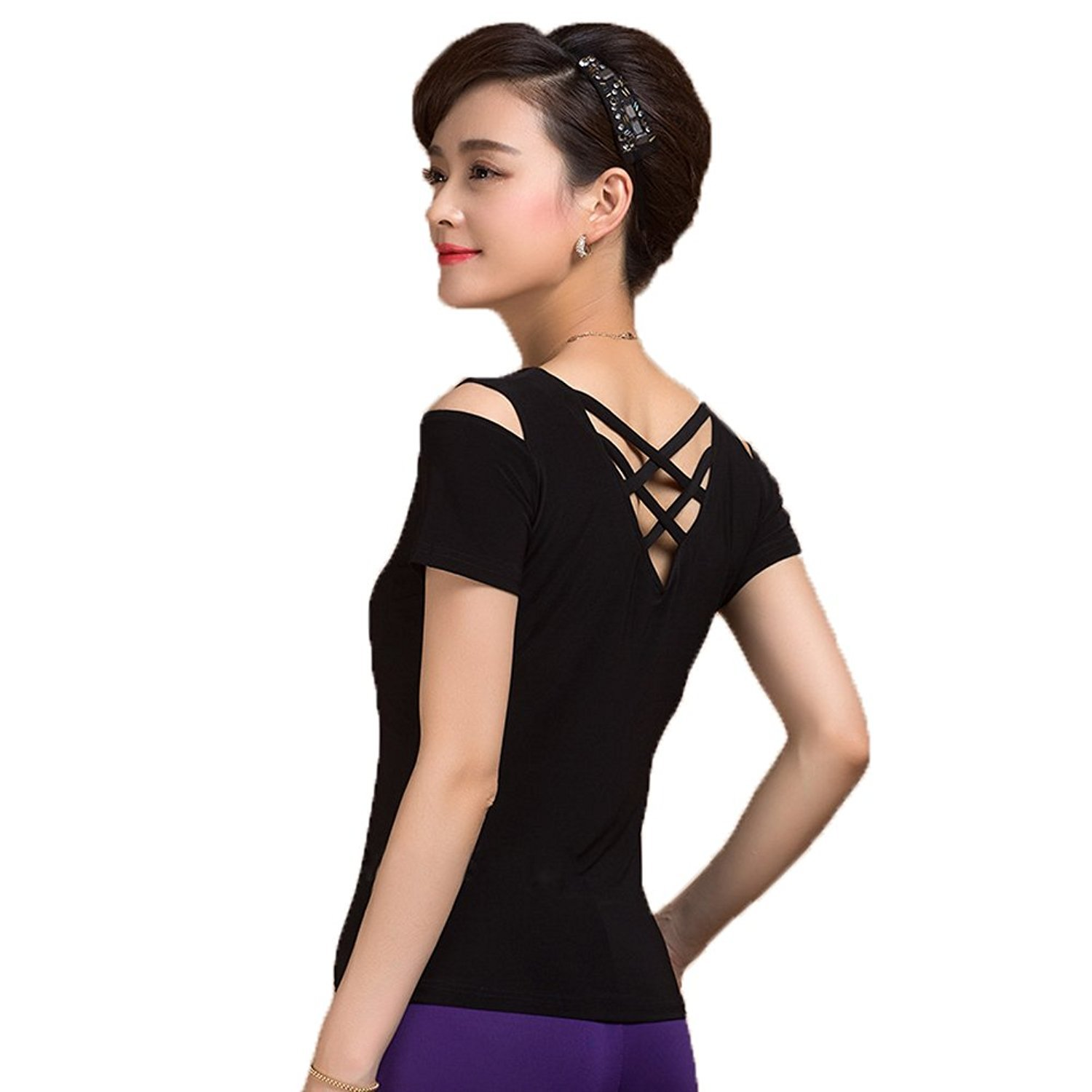 G1041 Latin Ballroom Modern Dance Professional bat Sleeve and Tied Design Practice Tops Includes a Simple Belt