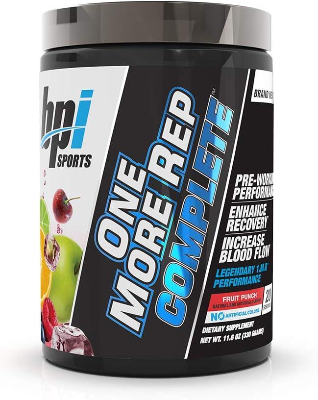 BPI Sports One More Rep Complete Citrulline Beta-Alanine Caffeine Nitrosigine S7 Endurance, Strength, Pump, Muscle Growth, Focus, Libido for Men Women Fruit Punch – 20 Serv 11.6 Oz