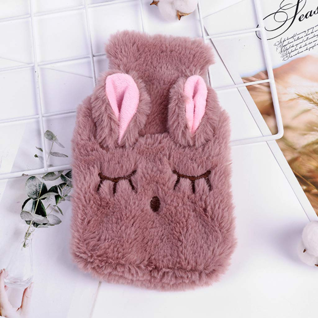 LLAin Winter Hot Water Bottle Bag with Removable Plush Cartoon Rabbit Cover Warmer