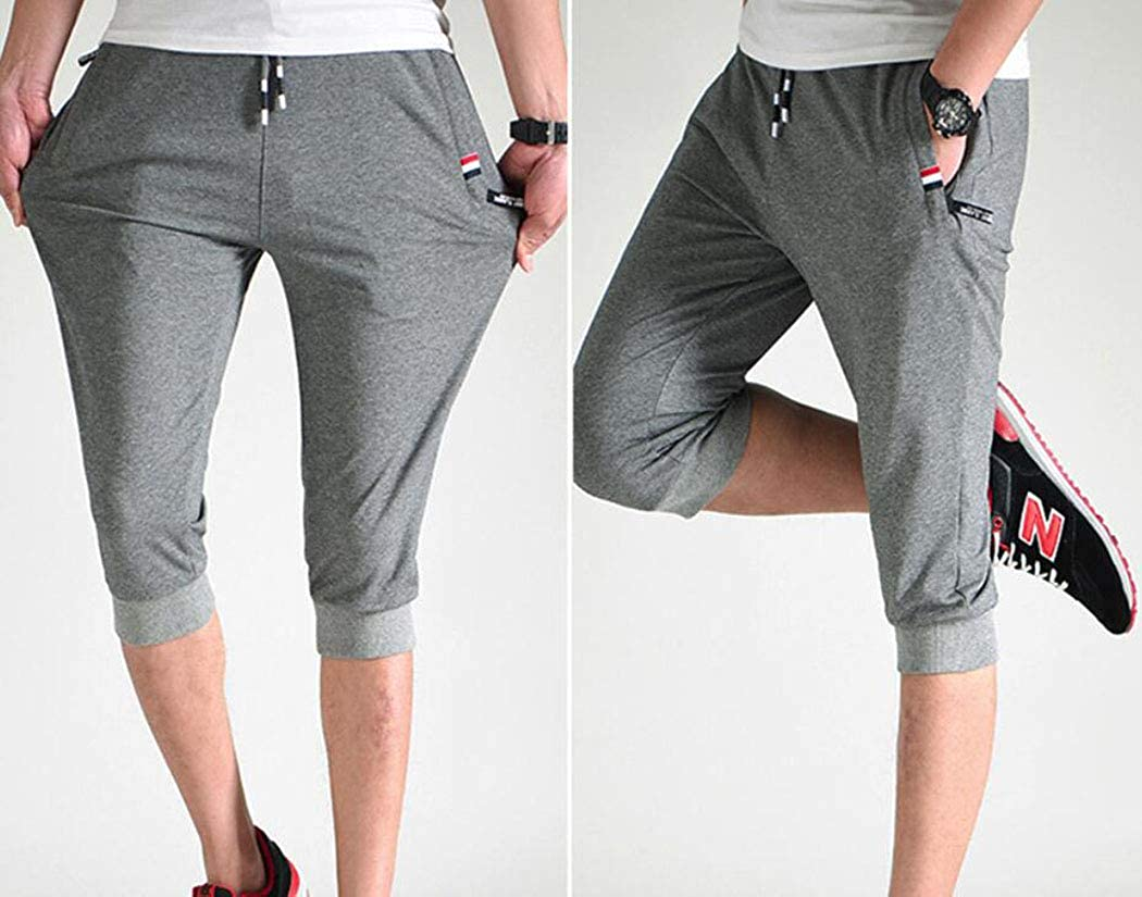 Amoystyle Mens Cotton Joggers Casual Workout Shorts Zipper Pockets