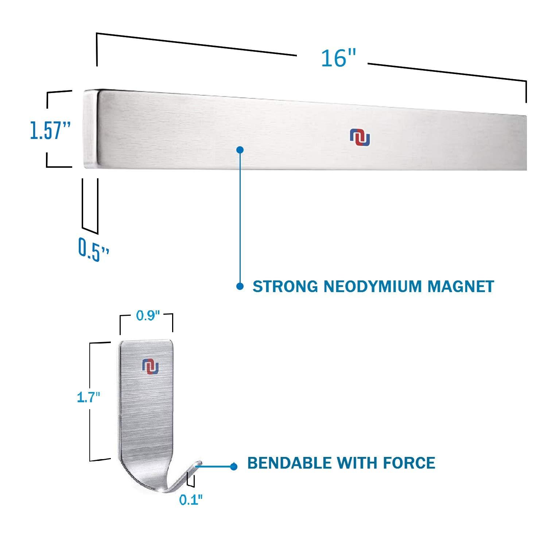 NUNET 16 Inch Stainless Steel Magnetic Knife Bar 4 Hanger Hooks with Adhesive Pad Strong Magnet as Knife Rack/Strip, Kitchen Utensil Hanger, Garage Tool Holder & Home Organizer by NUNET (Image #7)