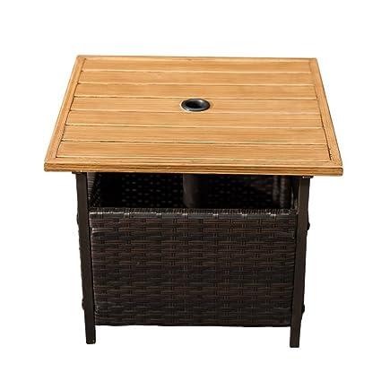 Amazon Com Sln Outdoor Pe Wicker Stand Side Garden Patio Tea