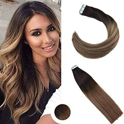 Ugeat 20 Pulgada Extensiones Adhesivas de Cabello Natural para Pelo Corto Marron Oscuro Balayage Rubio Ceniza #1b/8/18 Tape in Human Hair Extensions ...