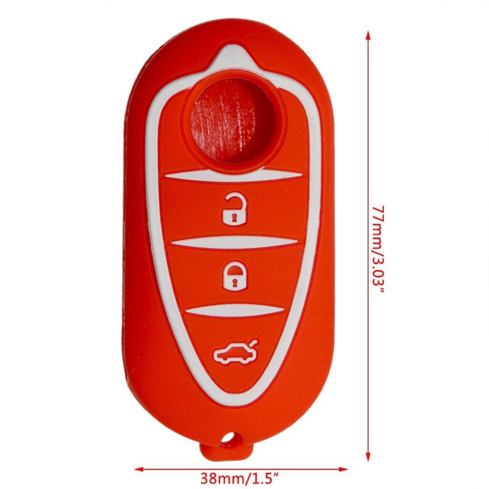 Happyit Silicone Voiture Intelligente Cas de Couverture de Cl/é pour Alfa Myth 159 GTO Mythe Giulietta Romeo 4C GTA-m38 3 Boutons de T/él/écommande Noir