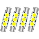 SMTYOE White 29mm Festoon Led Bulb 3-SMD 5050 Chipsets 6614F 6612F for Car Interior Vanity Mirror Sun Visor Lights (pack of 4)