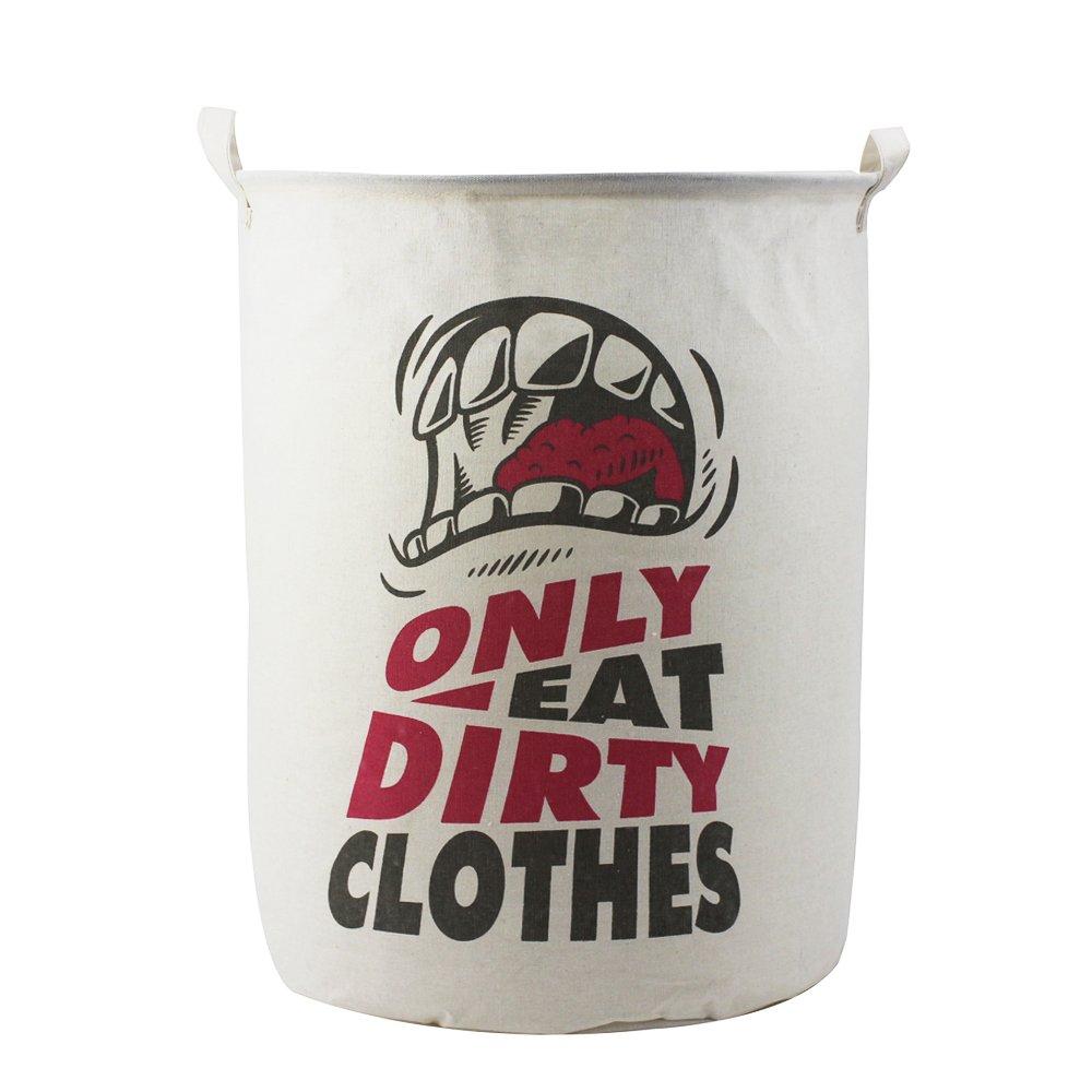 Homele 19.7'' Large 65L Waterproof Laundry Hamper Bucket, Foldable Cotton Fabric Laundry Basket Storage Basket Bin Organizer Bedroom, Bathroom, Drom, Nursery (Eat Dirty Clothes)
