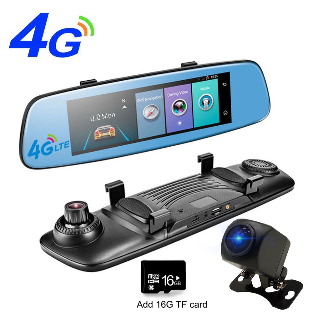 PHISUNG e06 DVR 4 G Wifiミラー車カメラAdas GPS Bluetooth 8 'タッチ画面レコーダー車ビデオミラーRegistrar Android Dashcam with 16 G TFカード B078YQRC6G ブルー ブルー