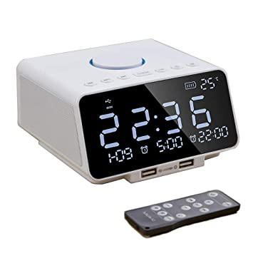 Radio Despertador Digital con Altavoz Bluetooth Radio Reloj, con Doble Alarma Radio FM, Lector
